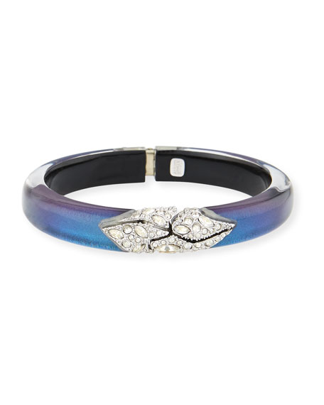 Alexis Bittar Crystal-Encrusted Mosaic Lace Hinged Bangle, Blue