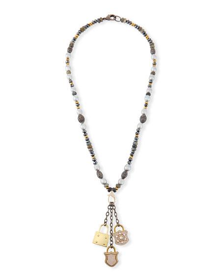 Hipchik Christie Pearl & Hematite Lock Necklace