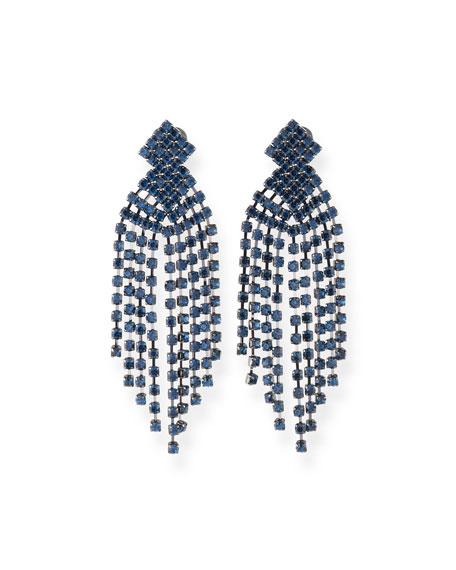Kenneth Jay Lane Montana Sapphire Waterfall Clip-On Earrings