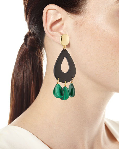 Image 2 of 2: NEST Jewelry Malachite & Horn Statement Earrings