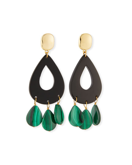 Image 1 of 2: NEST Jewelry Malachite & Horn Statement Earrings