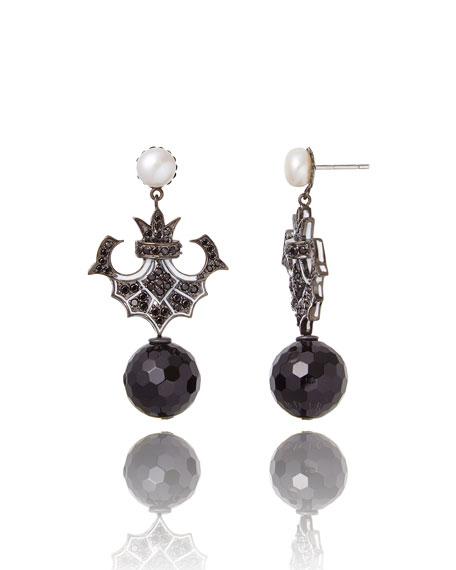 M.C.L. by Matthew Campbell Laurenza Pearl, Sapphire & Onyx Drop Earrings