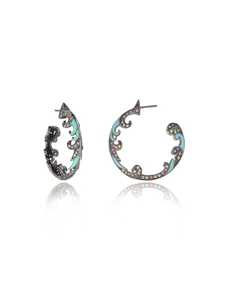 M.C.L. by Matthew Campbell Laurenza Turquoise & Sapphire Hoop Earrings
