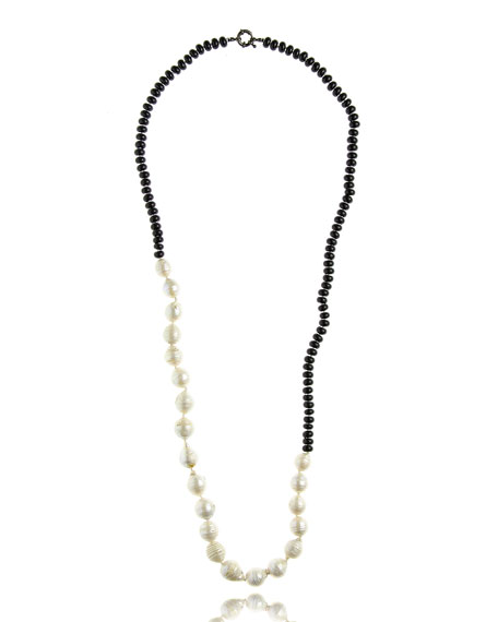 M.C.L. by Matthew Campbell Laurenza Half Onyx & Baroque Pearl Necklace