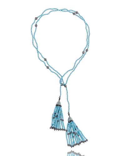 Turquoise & Hematite Tassel Wrap Necklace