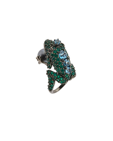 M.C.L. by Matthew Campbell Laurenza Agate & Topaz Frog Ring w/ Pearl