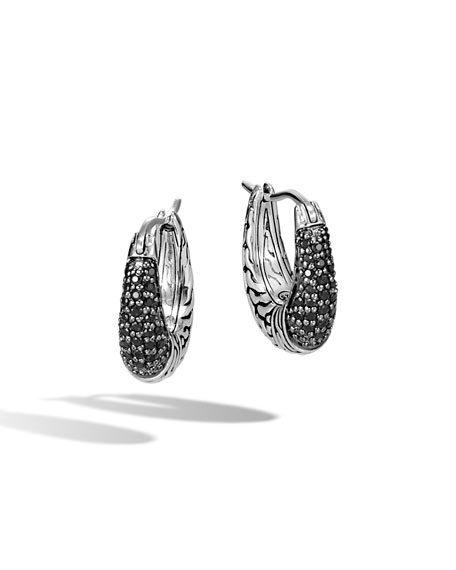 John Hardy Classic Chain Arch Hoop Earrings w/ Black Sapphire & Spinel
