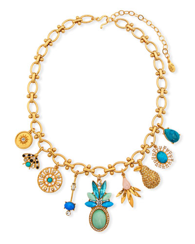 Multi-Charm Necklace w/ Crystals