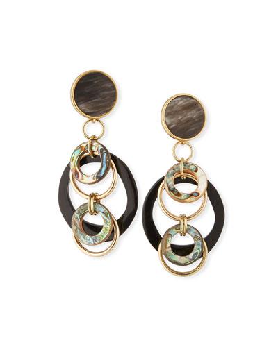 Black Horn & Abalone Earrings