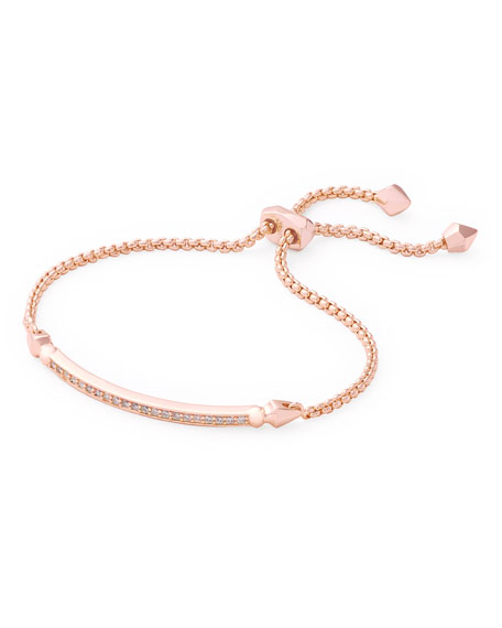 Image 1 of 1: OTT Adjustable Chain Bracelet w/ Cubic Zirconia, 14k Rose Gold-Plate