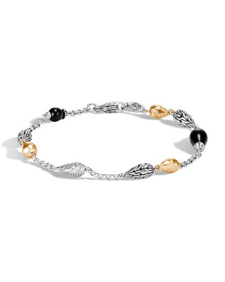 John Hardy Classic Chain Droplet Bracelet w/ 18k Gold & Diamonds