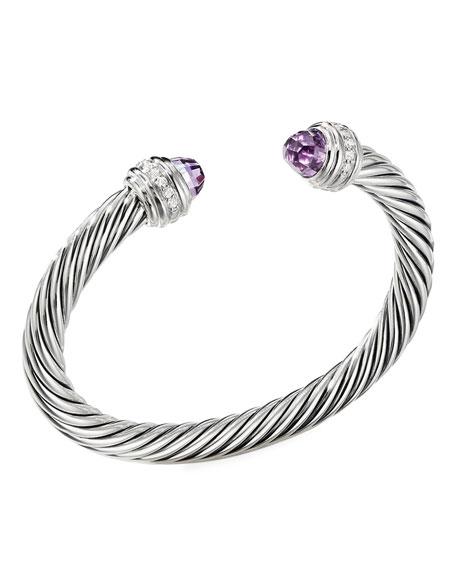 David Yurman Cable Bracelet w/ Diamonds & Amethyst