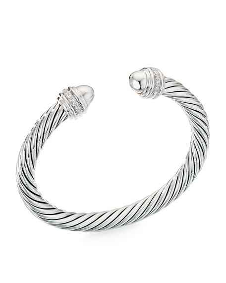 David Yurman Cable Bracelet w/ Diamonds & Onyx