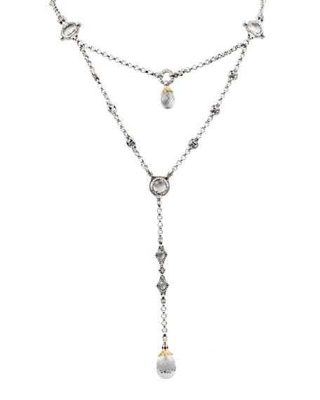 Konstantino Pythia Crystal & Corundum Y-Drop Necklace