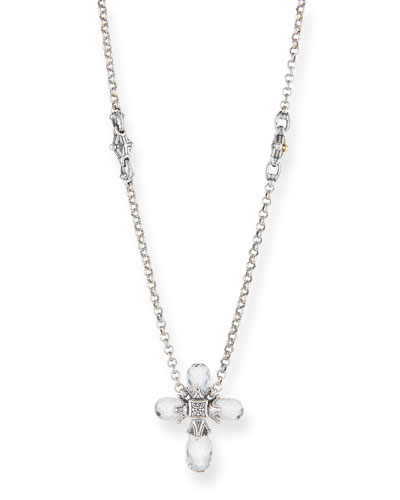Pythia Crystal Cross Pendant Necklace