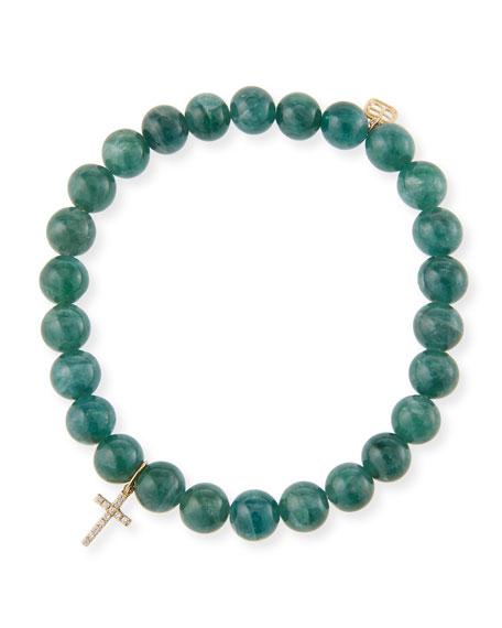 Sydney Evan 14k Apatite & Diamond Cross Bracelet