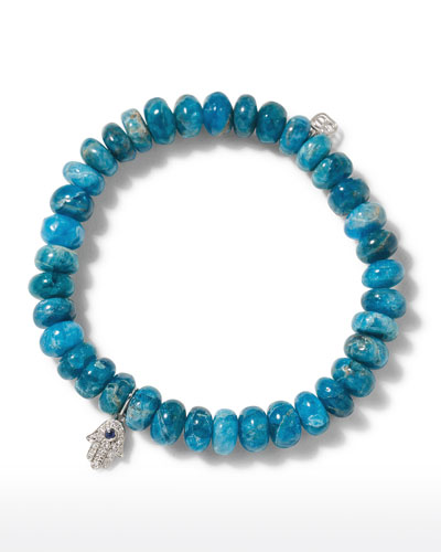 14k Apatite Bead & Hamsa Bracelet