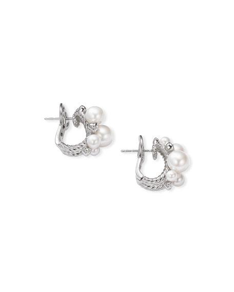 David Yurman Pearl & Diamond Cluster Huggie Earrings