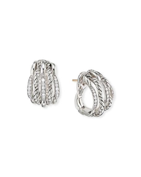 David Yurman Tides Diamond & Cable Shrimp Hoop Earrings