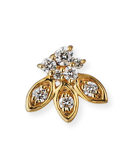 SYDNEY EVAN SINGLE 14K GOLD DIAMOND PETAL STUD EARRING