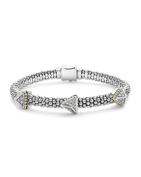 LAGOS KSL Lux Diamond Silver & 18k Gold Triple Pyramid Bracelet