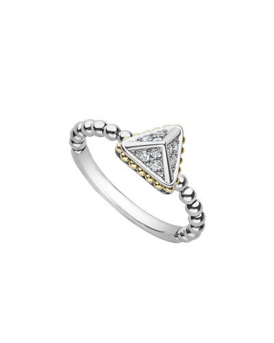 Diamond Lux Silver & 18k Gold 9mm Pyramid Ring  Size 7