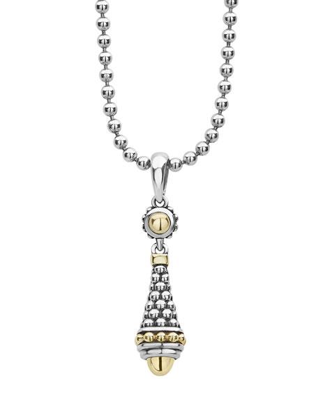 "LAGOS Silver & 18k Gold Caviar Pendant Necklace, 18""L"
