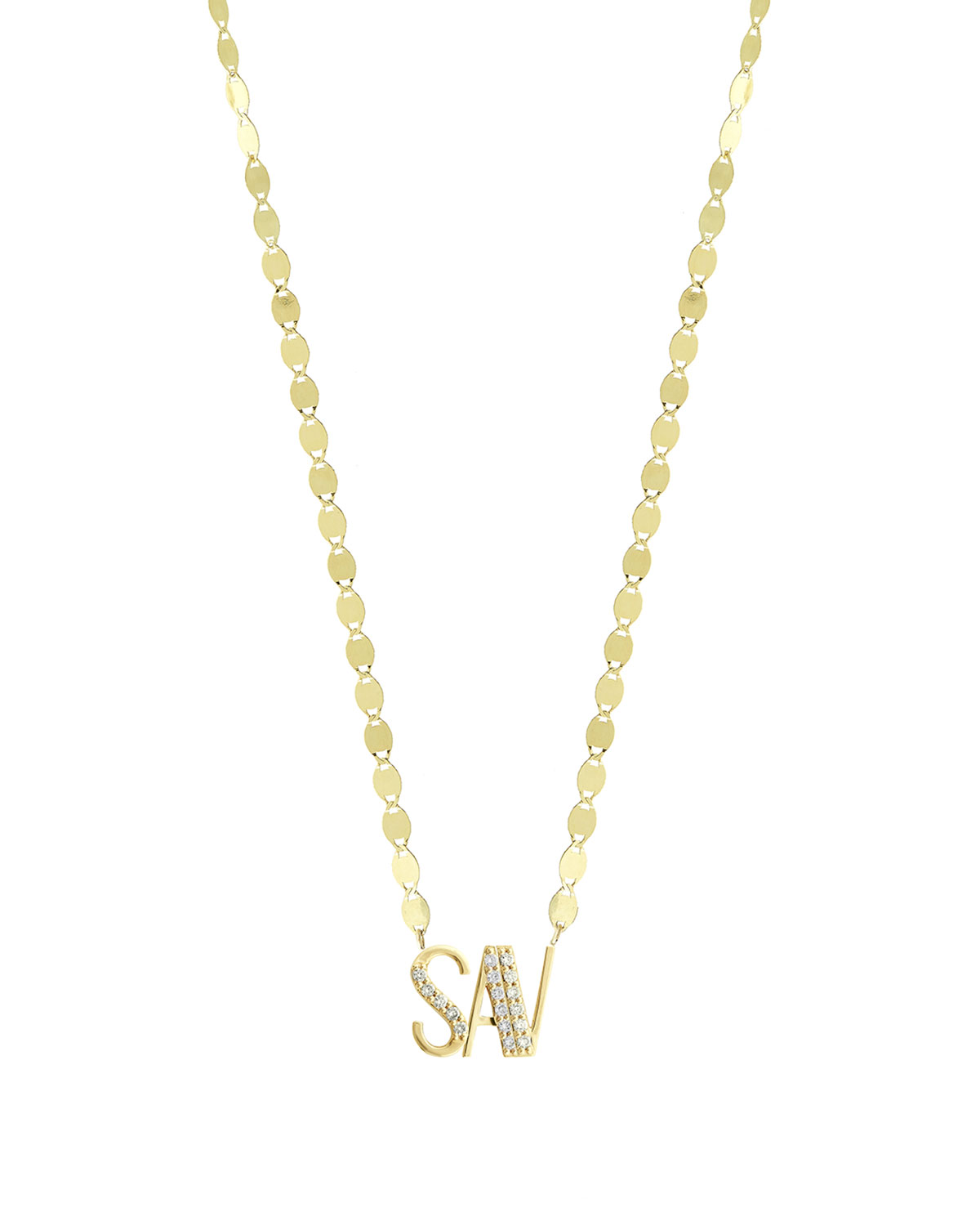 Lana Gold Personalized Three-Letter Pendant Necklace w/ Diamonds