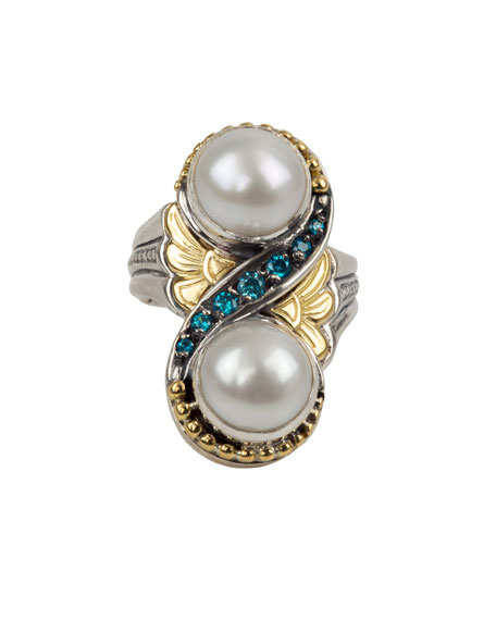 Konstantino Thalia 2-Pearl & Blue Spinel Ring, Size 7