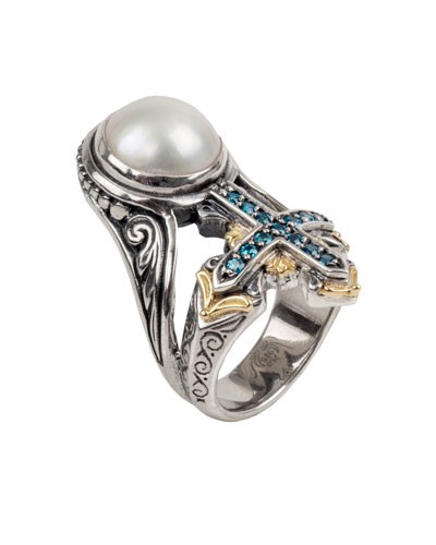 Thalia Pearl & Blue Spinel Cross Ring, Size 7