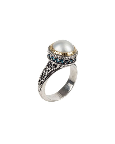 Thalia Pearl & Blue Spinel Ring, Size 7