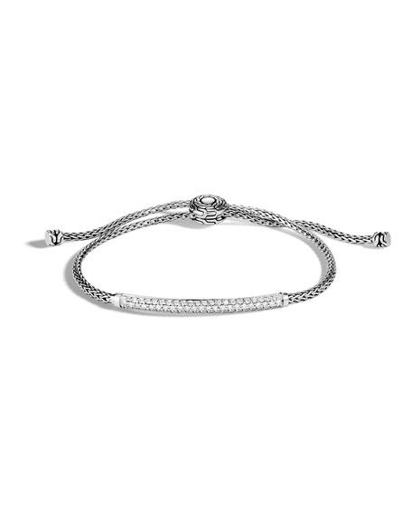 John Hardy Classic Chain Pull-Through Bracelet w/ Diamond Bar