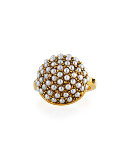 Lulu Frost EMPIRE RING W/ GLASS PEARLS