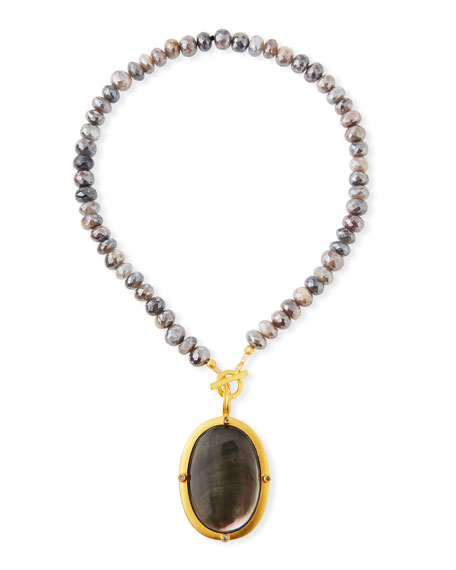 Dina Mackney Titanium Moonstone & Black Mother-of-Pearl Necklace