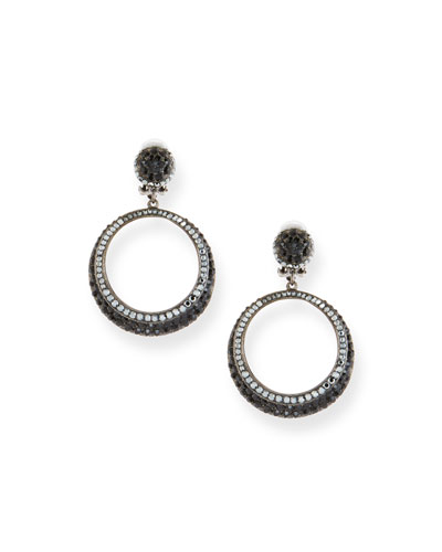 Hematite Crystal Hoop Drop Earrings