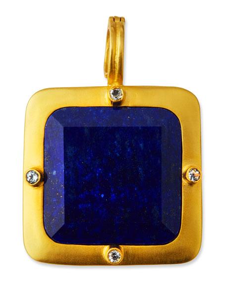 DINA MACKNEY Square Lapis & Topaz Pendant in Blue