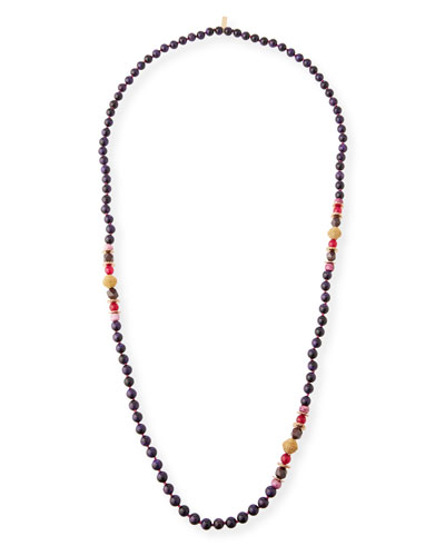 Plum Beaded Single-Strand Necklace