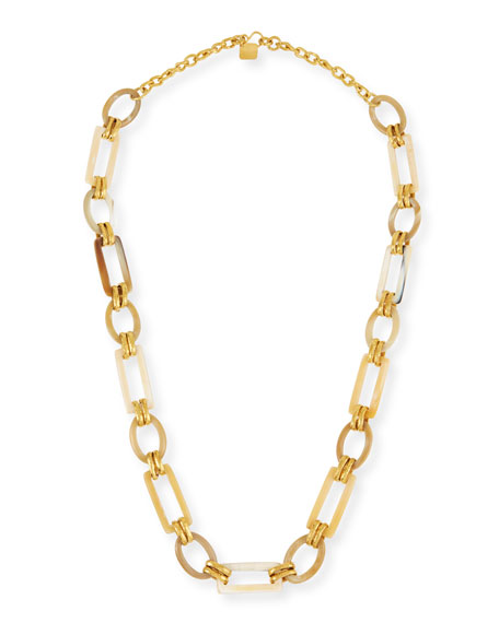Ashley Pittman Light Horn & Bronze Link Necklace,
