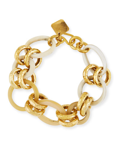 Horn & Bronze Link Chain Bracelet