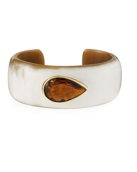 Ashley Pittman Horn Cuff Bracelet with Smoky Quartz