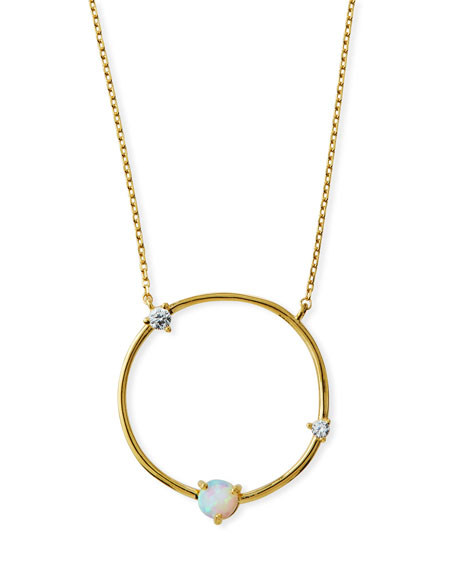 TAI Large Opal Circle Pendant Necklace in Gold