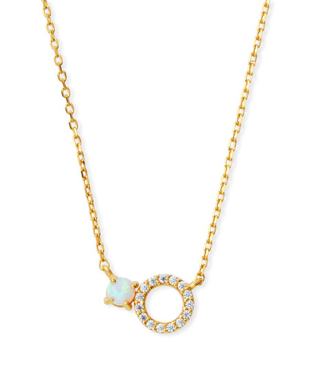 TAI Mini Opal Circle Pendant Necklace in Gold