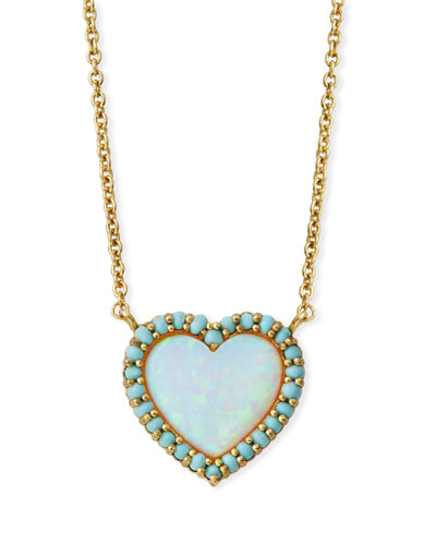 Mini Heart Glass-Opal Pendant Necklace