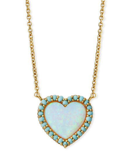 TAI Mini Heart Glass-Opal Pendant Necklace in Gold