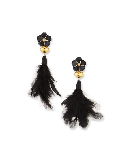Devon Leigh Flower & Feather Drop Earrings