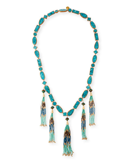 Devon Leigh Long Multi-Tassel Turquoise Necklace
