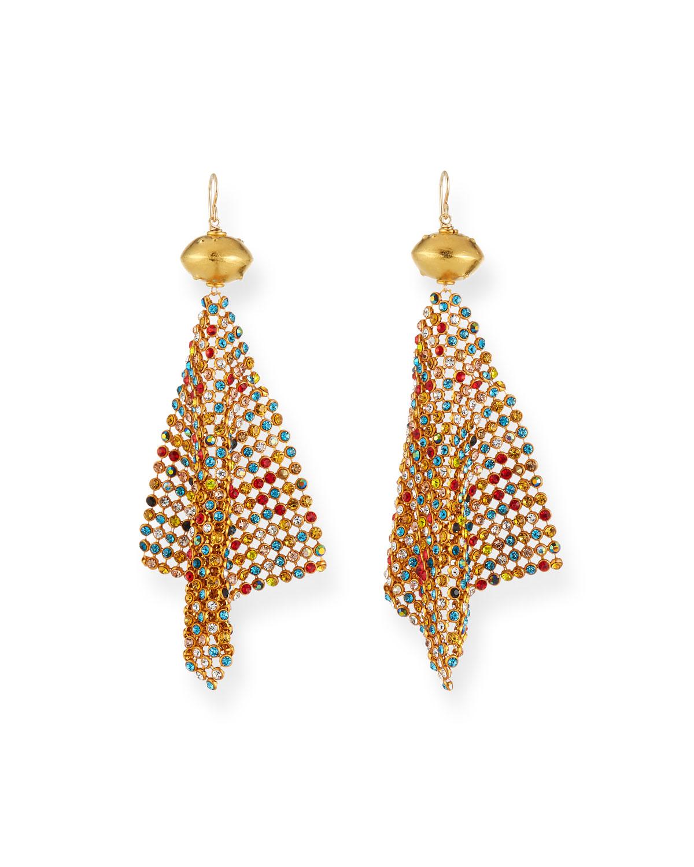 Rainbow Crystal Mesh Earrings