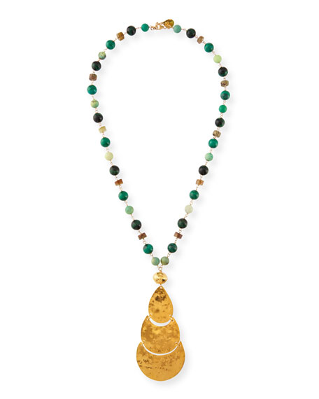 Devon Leigh Long Pendant & Stone Beaded Necklace