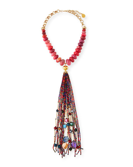 Devon Leigh Seed Bead Long Tassel Necklace