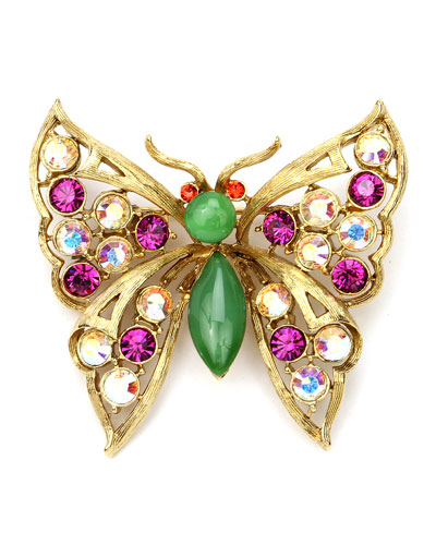 Crystal Butterfly Brooch